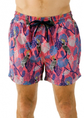 The Rocks Push mid length mens board shorts pink cockys recycled